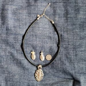 Silver and black necklace and earrings set